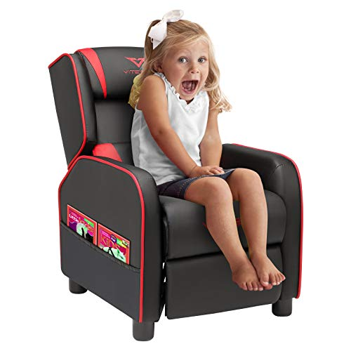 Vitesse Kids Gaming Recliner Youth PU Leather Armchair Ergonomic Racing Game Sofa for Children Boys Girls with Footrest and Padded Backrest Lightweight Sofa Chair (Red)
