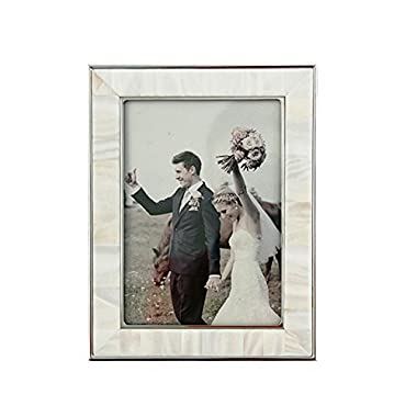 Unique Shells Picture Frame 5x7 White Wedding Anniversary Photo Frames For Tabletop and Wall Decor