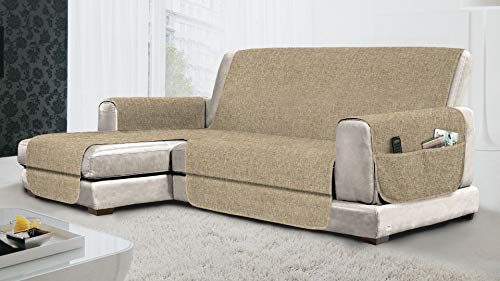 MB HOME BASIC Funda de sofá Antideslizante con Chaise Longue SX Relax, Color Crema, 290 cm