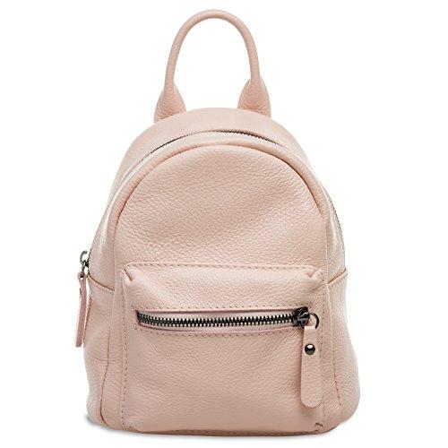 Caspar TL777 kleiner 2-in-1 Damen echt Leder City Rucksack, Größe:One Size, Farbe:rosa