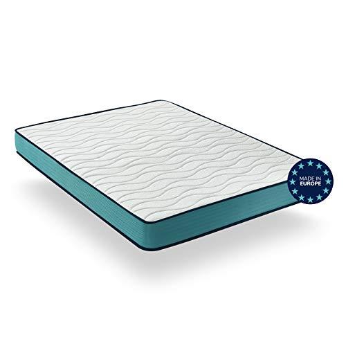 Matratze 160x200 aus Memory Schaumstoff für Einzelbett – Tiefe 18 cm – Eliocell 23D & Blue Latex – Milbenbezug - getestet durch Oeko-Tex & CertiPur - Made in EU & 2 Jahre Garantie