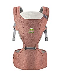 Kiddale Ergonomic Baby Carrier Sling Bag with Detachable Hip Seat Adjustable Waist Strap for 28-38inch, Thick and Padded Shoulder Straps, Breathable Fabric and Storage Pockets-Pink,Kiddale