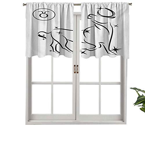 Hiiiman Cenefa recta, panel de cortina de alta calidad, composición esotérica con diseño abstracto de estrellas toro, juego de 2, 137 x 60 cm, ideal para cualquier habitación y dormitorio