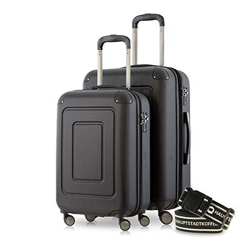 Happy Trolley - 2er Koffer-Set Trolley-Set Rollkoffer Hartschalen-Koffer Reisekoffer Lugano sehr leicht, TSA, (S+M), Schwarz +Gepäckgurt