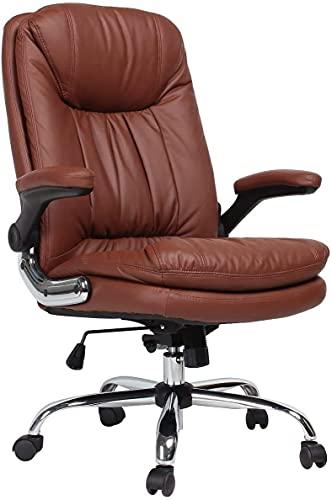 YAMASORO Silla de oficina ergonómica con brazos y respaldo abatibles, de piel con respaldo alto y elevación de gas ajustable, para oficina y dormitorio (marrón)