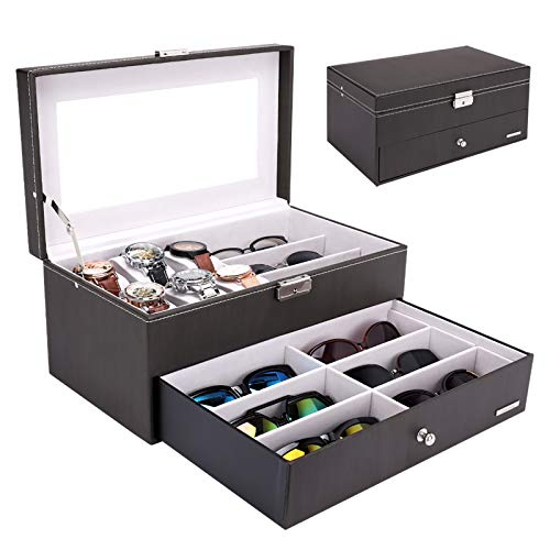 Homde Sunglasses Case Watch Box Jewelry Organizer Eyeglass Holder Glasses Storage for Men Women with Mirror, Drawer and Lock