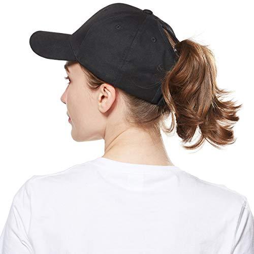 WELROG Dame Baseball Kappe Hip-Hop-Hut Verstellbar Baumwolle Pferdeschwanz (Schwarz)