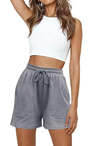 Hibluco Womens Casual Athletic Shorts Elastic High Waist Comfy Shorts Pants with Pockets Grey