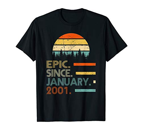 Epic Since January 2001 19th Birthday Gift 19 Years Old T-Shirt
