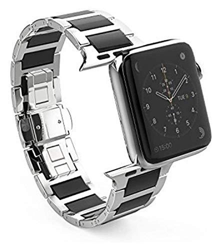 Bandas de metal compatibles con Apple Watch 38mm 40mm 42mm 44mm correa de acero inoxidable de la correa de reemplazo de la banda de la pulsera Sport Soft transpirable para la serie IWATCH 6 / SE / 5/4