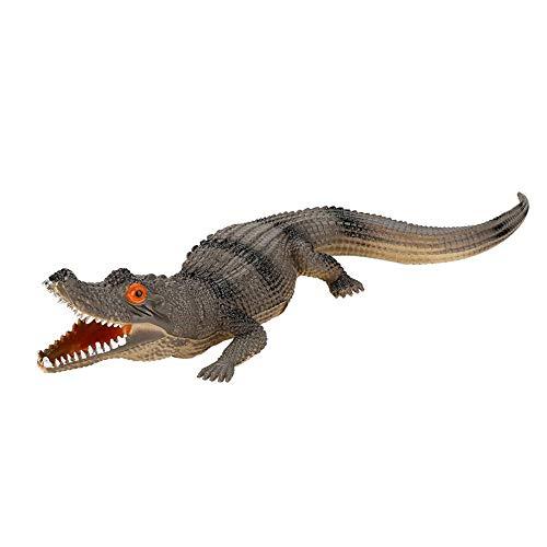 Alligator Spielzeugfiguren für Kinder Weichplastik Große Krokodil Action Figure Spielzeug hoche Simulation Krokodil Reptil Tiermodell mit Sound für Geburtstag Party Favor(dunkle Farbe)