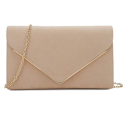 Charming Tailor Faux Suede Clutch Bag Elegant Evening Purse for Wedding/Prom/Black-tie Events (Nude)