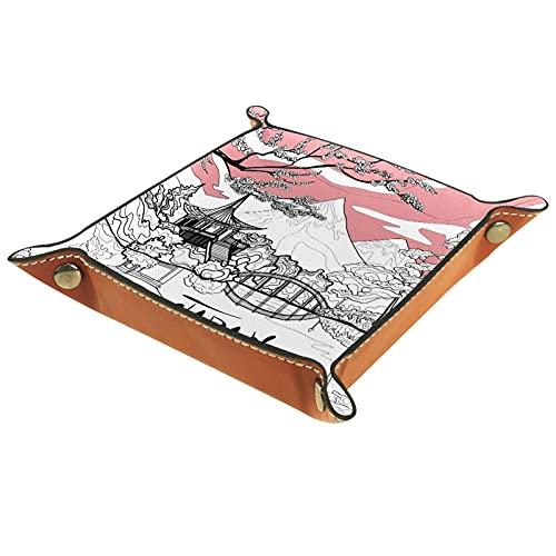 Bandeja de valet para almacenamiento de escritorio – Bandeja multiusos de piel sintética para mesita de noche, soporte de dados para llaves, teléfono, cartera, moneda, joyas, paisaje de Japón