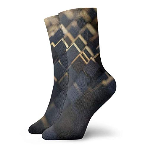 huatongxin 3d Abstract Cubes Wallpaper Adult Calcetines Cotton Gym Short Calcetines For Yoga Hiking Cycling Running Soccer Sports