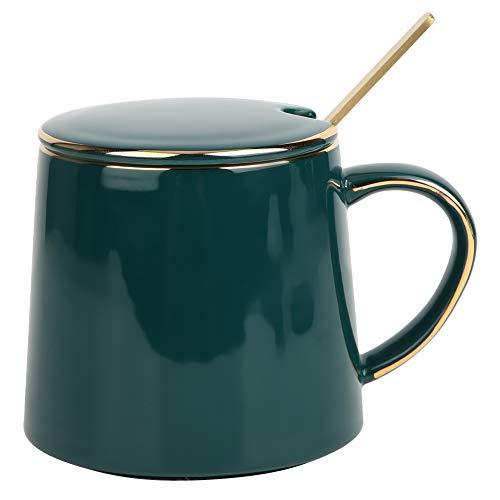 Taza de cerámica, taza de café, té, agua, leche Cspresso Taza de cerámica con cuchara de tapa, 18 oz / 530 ml, para oficina y hogar, gran regalo, verde malaquita