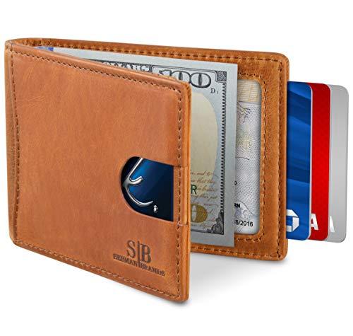 SERMAN BRANDS RFID Blocking Slim Bifold Genuine Leather Minimalist Front Pocket...