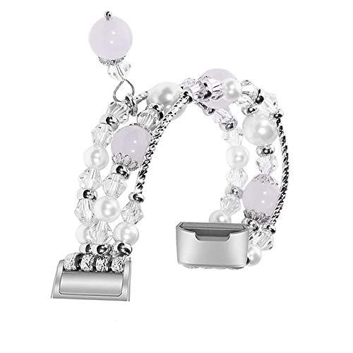 Deng Xuna für Fitbit Charge 3 Armband, Perlen Armband Watch Strap Band Uhrband Ersatz für Fitbit Charge 3, 3 Farben erhältlich (Silber)