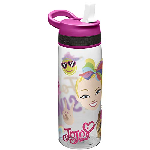 Zak Designs JoJo & BowBow (Pink) Straw and Built-in Carrying Loop Durable Water Bottle Has Wide Mouth and Break Resistant Design is Perfect for Kids, 25oz