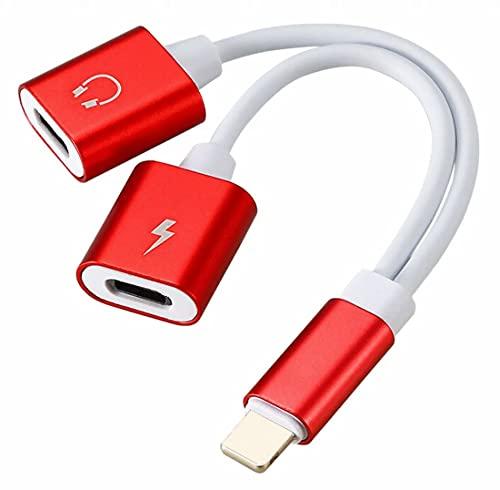 Plus Nao(プラスナオ) iphone変換ケーブル ヘッドフォンジャック スマホアクセサリー デュアルライトニングポートアダプター 2in1 二股 充 - レッド
