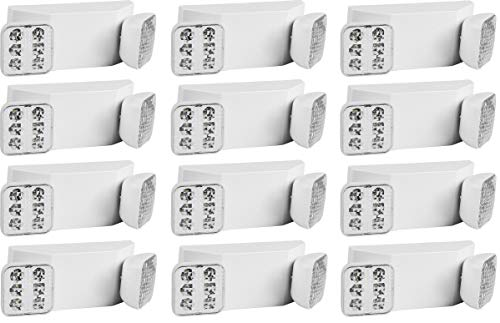 Ciata Lighting Emergency Lights | Ultra-Bright White LED Light with Back-up Battery, Adjustable Lamps & 90-Minute Minimum Capacity - 12 Pack