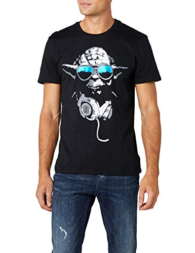 STAR WARS DJ Yoda Cool Camiseta, Negro, Large para Hombre