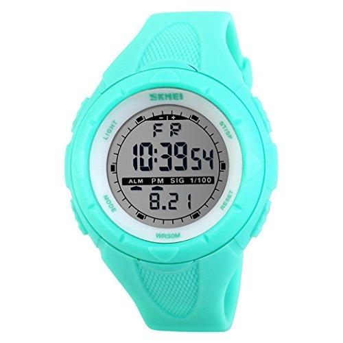 Happy Cherry Deportivo LED Reloj Digital de Cuarzo con Correa de Gaucho Esfera Grande Multifunción Alarma Cronómetro Calendario Waterproof Wrist Watch para Mujer Chica - Azul Claro