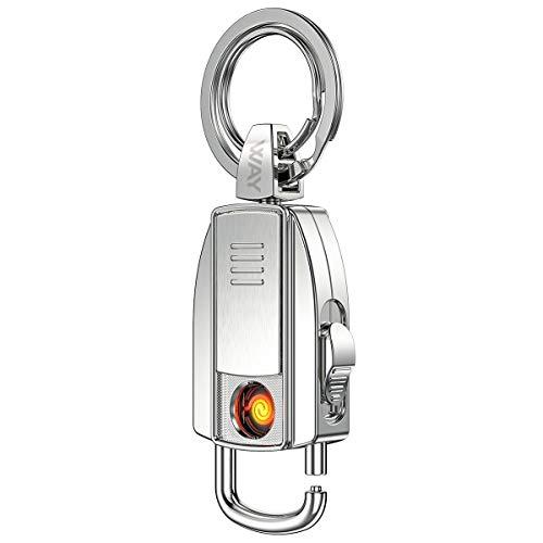 VVAY Elektro Glühspirale Feuerzeug mit Schlüsselanhänger Usb Aufladbares, Windfestes Flammloses E Feuerzeug
