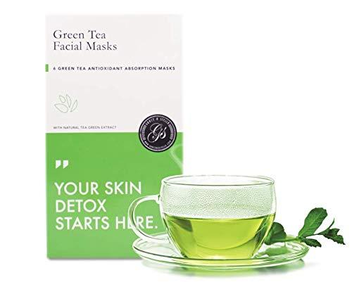 Mascarilla de hoja de té verde (paquete de 6) Máscaras faciales hidratantes sin crueldad veganas para desintoxicación, antiestrés, rejuvenecedor para la piel: ayudan a limpiar y humectar