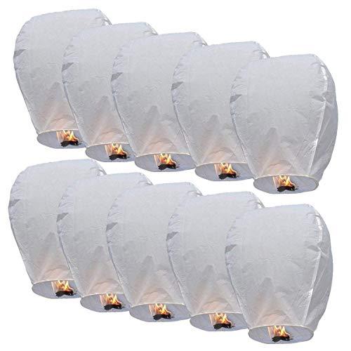 Lanternes Chinoises Kong Ming en Papier Respectueuse de l'Environnement Veille de Noël Nouvel An Mariage Fêtes Lot de 10 (Blanc)