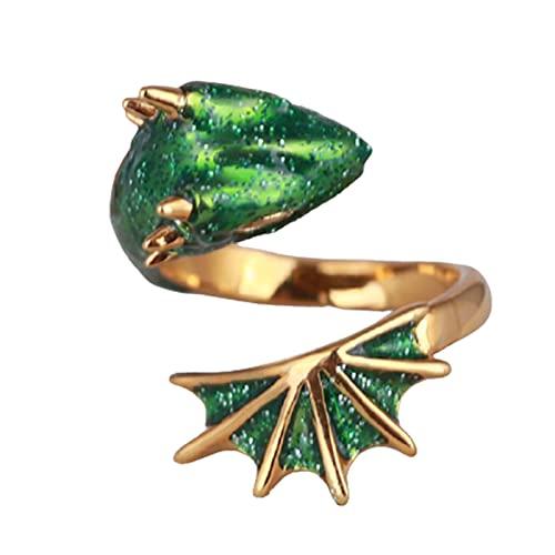 Shumu Anillo de joyería esmaltado negro Knight Dragons Triceratops anillo abierto adornos ajustables duraderos e interesantes