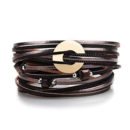 Overvloedi Joyería Pulsera de Cuero Multicapa Bohemian Magnetic Winding Accesorios Ladies Gold Pulsera 2