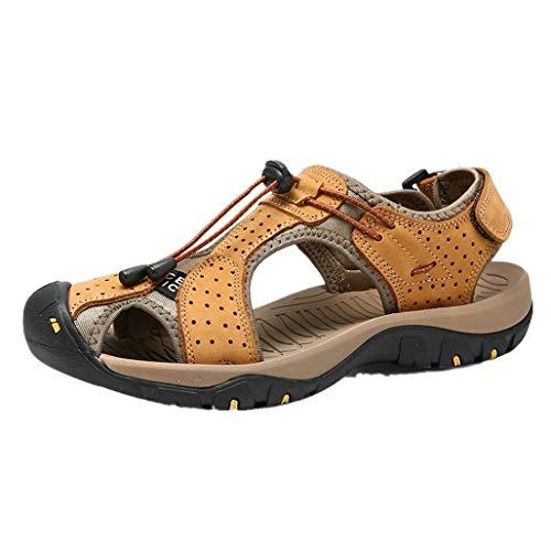 OYSOHE Herren Sandalen Trekking Wanderschuhe Outdoor Sport Freizeitschuhe Sommer Schuhe Leder(Gelb,45 EU)
