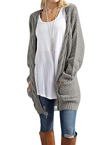 Women's Open Front Pockets Long Sleeve Classic Cable Knit Long Sleeve Cardigan / Women's Boho Long Sleeve Open Front Chunky Warm Cardigans Loose Pullover Sweater Blouses Features:Open Front Drape Cardigan With Two Front Pocket without any Button , So...