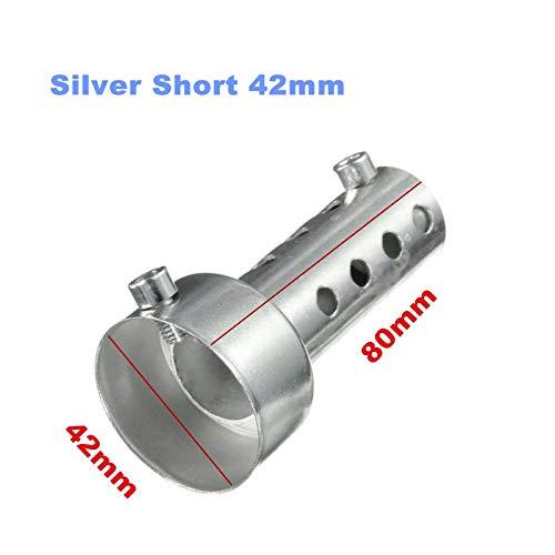 35mm / 42mm / 45mm / 48mm / 60mm Motorrad DB Killer Schalldämpfer Lärm Eliminator Auspuff Adjustable Schalldämpfer Schalldämpfer Removable Auspuff (Color : Silver Short 42mm)