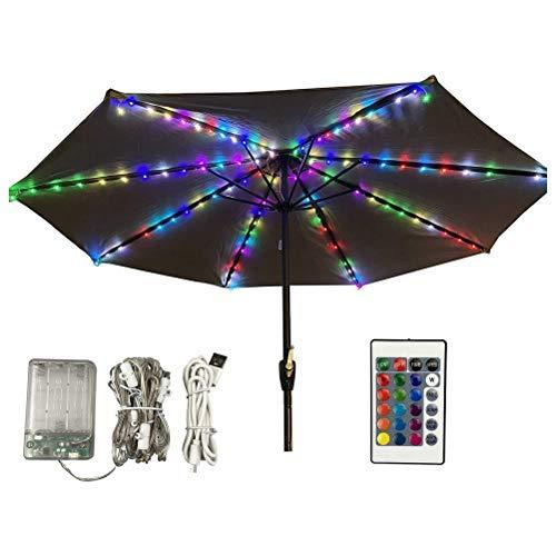 Luz de sombrilla LED, luz de sombrilla RGB de 16 colores, con 104 luces LED, USB/alimentado por batería, luz de sombrilla de terraza de jardín
