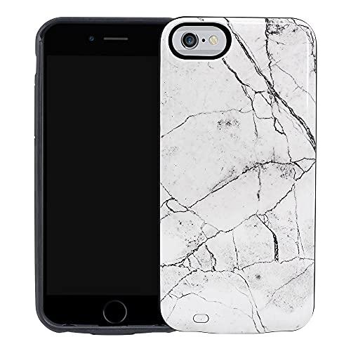 HiKiNS Cover Batteria per iPhone 8 7 6 6s, Design in Marmo Bianco 5000mAh Custodia Ricaricabile di Backup Batteria Estesa, Custodia Caricatore Portatile per iPhone 8 7 6 6s