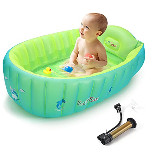 Boysea Inflatable Baby Bathtub with Air Pump, Bathtub Seat with Anti-Sliding Saddle Horn for Newborn to Toddler, Portable Travel Shower Basin with Back Support, Deflates and Folds Easily