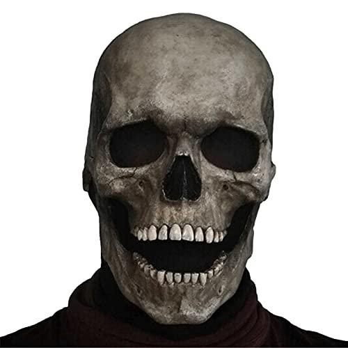 Fmlkic Máscara de calavera aterradora con máscara de mandíbula móvil Casco de látex realista de Halloween Máscara de ojos brillantes Horror Cabeza completa Esqueleto Sombrerería para adultos