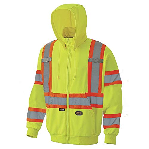 Pioneer High Visibility, Ultra Reflective, Zip-Style Micro Fleece Hoodie with 2 Front Slash Pockets and Detachable Drawstring Hood, Reflective Tape, Yellow/Green, XL, V1060560U-XL