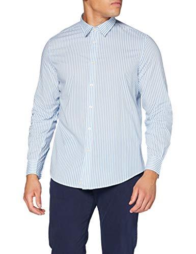 United Colors of Benetton Herren Camicia Hemd, Light Blue/White Striped 95w, L