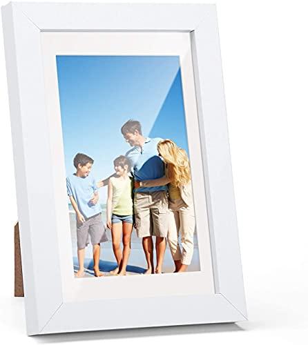HOUSE DAY Marco de fotos 13x18 cm blanco, cuadros de exposición marcos de 10x15 con tapete o 13x18 sin tapete marco de madera con vidrio acrílico, para certificados fotográficos de pared o de pie