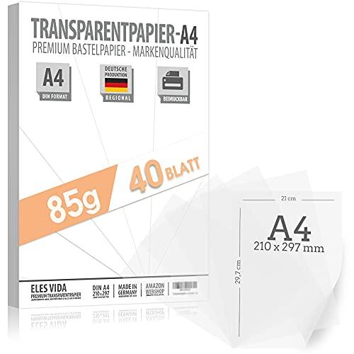 ELES VIDA 40 Blatt Transparentpapier DIN A4 – 85g Origami Papier - Transferfolie für technisches Zeichnen - Tracing Paper Skizzenpapier Seidenpapier Fensterbilder Butterbrotpapier
