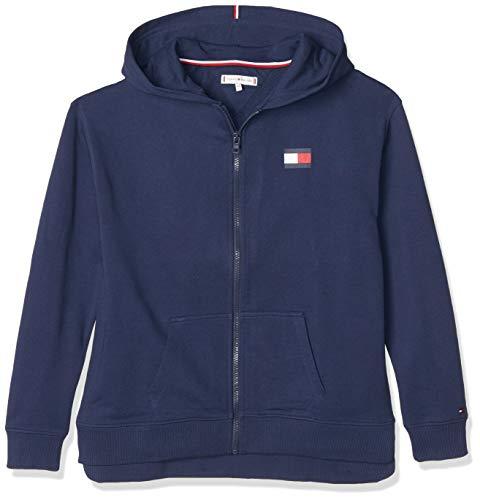 Tommy Hilfiger Mädchen Essential Logo Full Zip Hoodie Strickjacke, Blau (Twilight Navy C87), Jahre (Herstellergröße: 14)