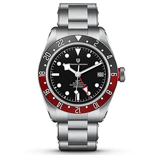 Pagani Design 1706 Hombres GMT Relojes automáticos Homenaje Black Bay Hombres Relojes de Pulsera mecánicos Multi-Time Zone Función Impermeable 200M Hombres Relojes Deportivos