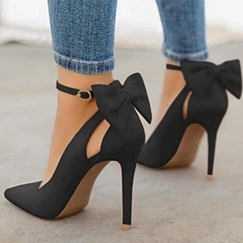 YHCS Mujeres Puntiagudos Altos Tacones Altos Tacones Tacones Delgados Damas Sexy Bombas para Damas Hebilla Correa Femenina Moda Bowknot Zapatos más tamaño 34-43