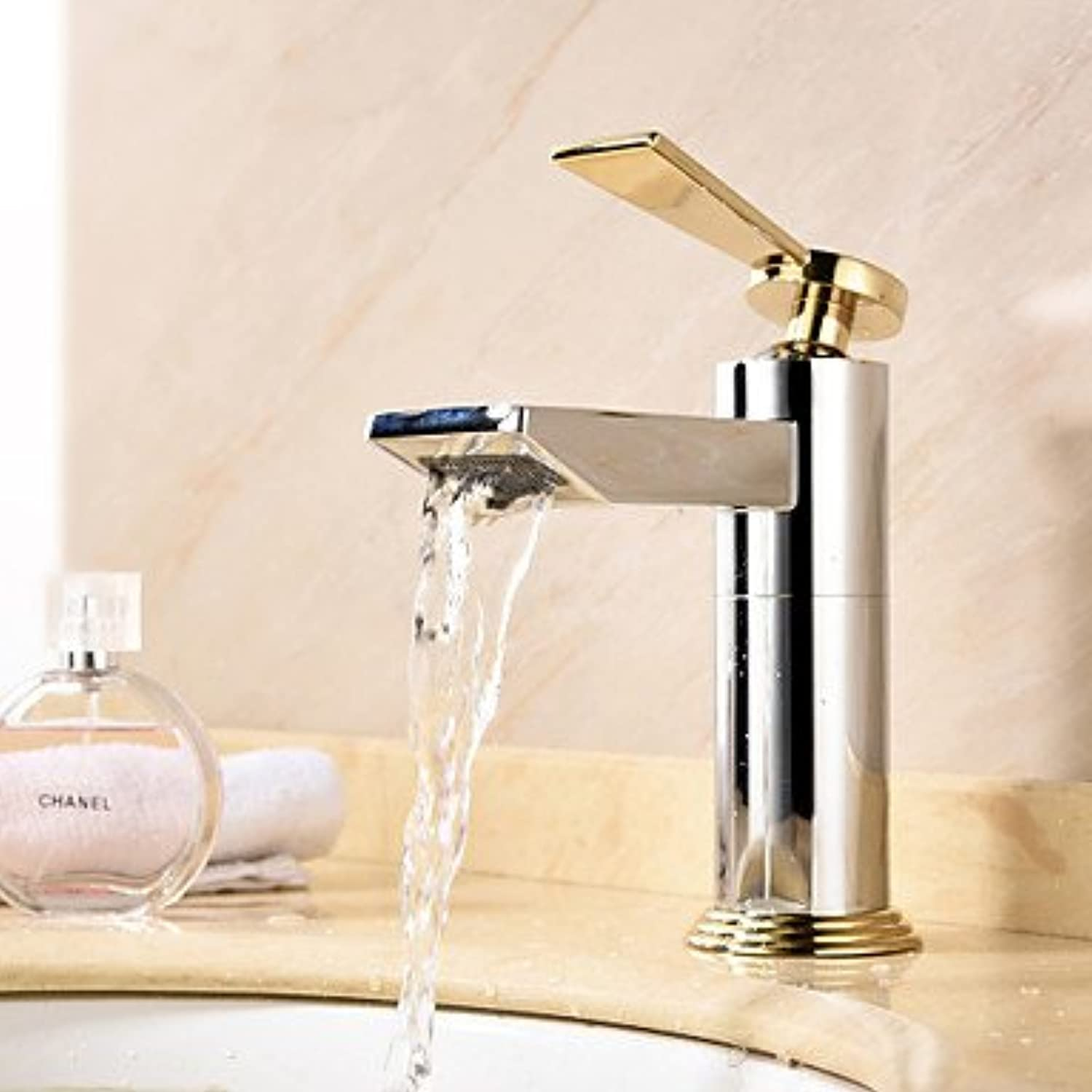 SUNNY KEY-Bathroom Sink Taps@Centerset single-lever Chrome bathroom sink faucets single hole , white+golden
