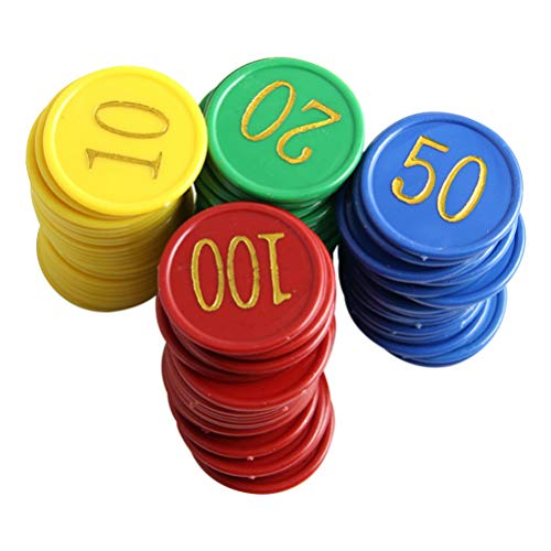 STOBOK Runde Plastikchipzahl Druckte Bingo-Chipunterhaltungsversorgungsmaterialien Farbige Spielscheiben für Hauptparteistab 80Pcs