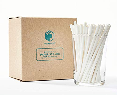 Vitapack 400- Pack White Paper Straw Made in USA 5.75' Cocktail Certified Compostable