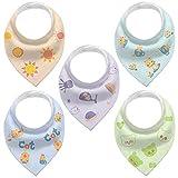 Gudodle Bandana Drool Lätzchen-Baby-Beißlätzchen aus Bio-Baumwolle für Jungen und Mädchen, weich und super saugfähig, 5er-Pack
