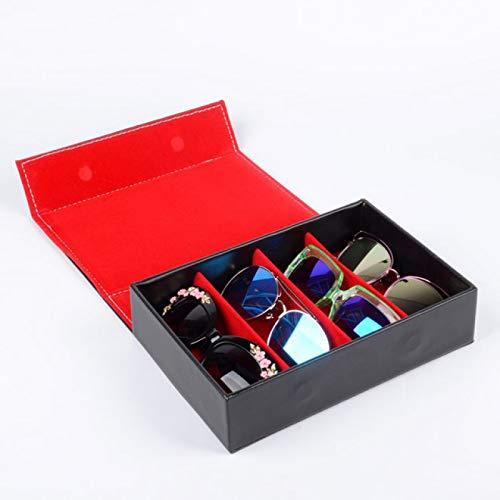 JFCXBSSL Organizador de gafas de 4 rejillas, forro negro, rojo, funda de poliuretano para gafas de sol, caja de almacenamiento